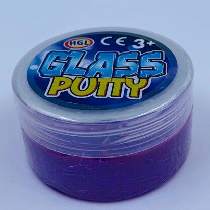 glass putty slime med flotte farver og glitter lilla