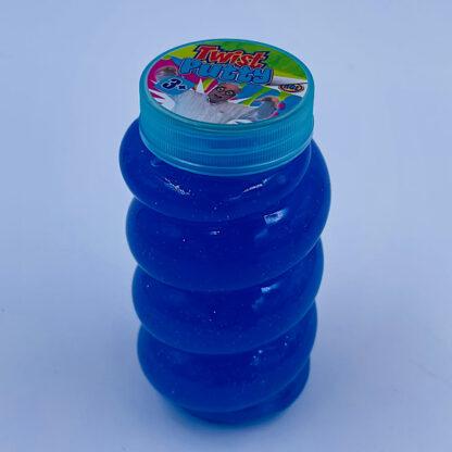 Høj slimet og twisted slim putty med glimmer i blå