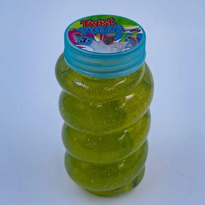 Høj slimet og twisted slim putty med glimmer i grøn