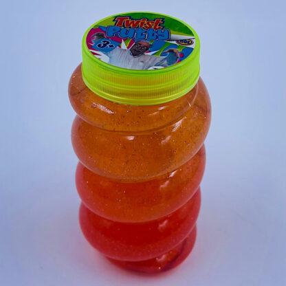 Høj slimet og twisted slim putty med glimmer i orange