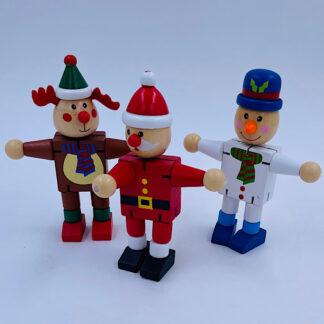 Jule Flexi mænd Julefigur i træ Trælegetøj Små gaver