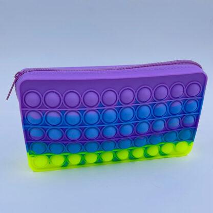 Pop it penalhus med lynlås regnbuefarvet Fidget Toy