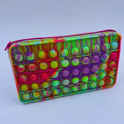 Pop it penalhus med lynlås regnskovsfarvet Fidget Toy