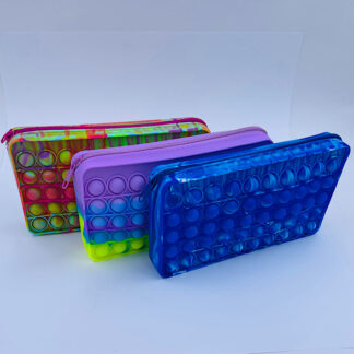 Pop it penalhus med lynlås tre farver fidget toy